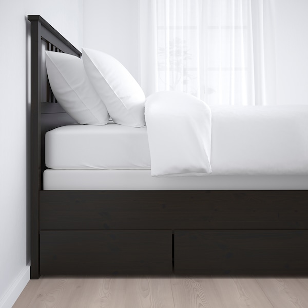 "HEMNES bed frame with 2 storage boxes black-brown/Espevär 79 1/8 "" 58 5/8 "" 26 "" 47 1/4 "" 74 3/8 "" 53 1/8 "" 7 1/8 "" 47 1/4 "" 25 1/4 """