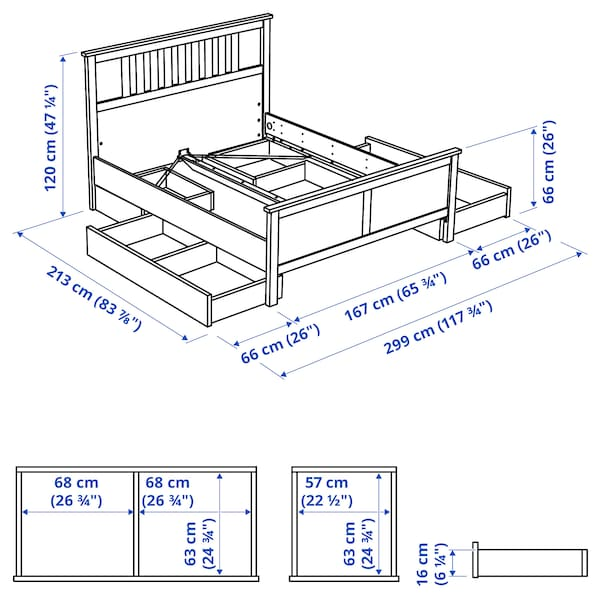 HEMNES Bed frame with 4 storage boxes, black-brown/Luröy, Queen