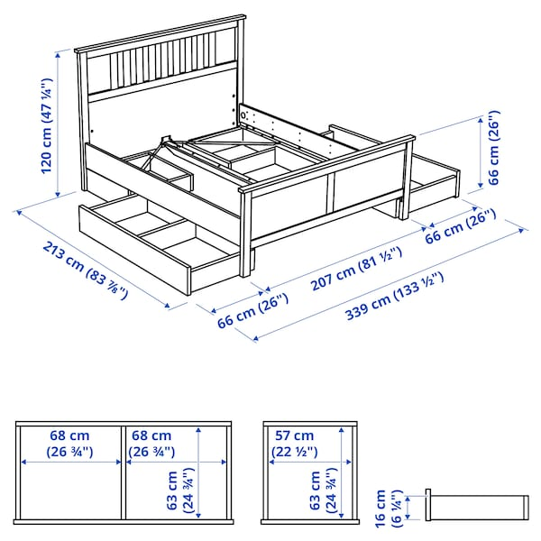 HEMNES Bed frame with 4 storage boxes, dark gray stained/Luröy, King