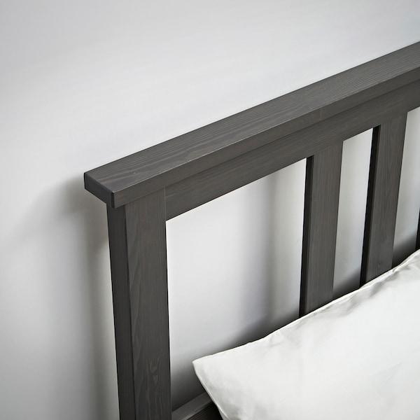 "HEMNES bed frame with 4 storage boxes dark gray stained/Leirsund 83 7/8 "" 65 3/4 "" 26 "" 47 1/4 "" 79 1/2 "" 59 7/8 """