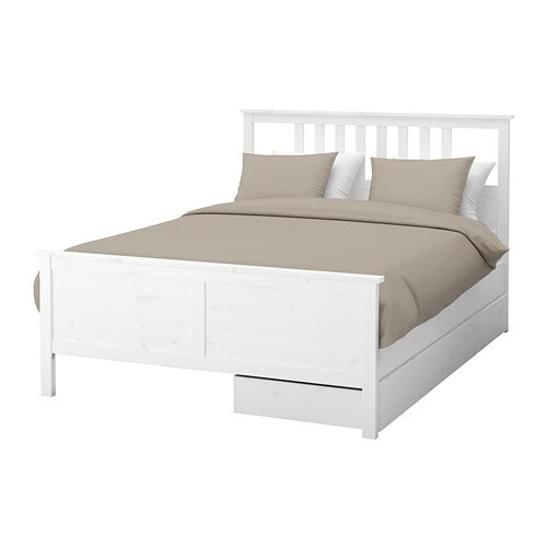 HEMNES Bed frame with 2 storage boxes King, Eidfjord mattress base, white stain IKEA
