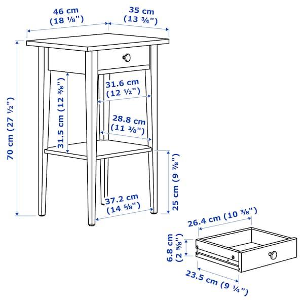 """HEMNES nightstand white stain 18 1/8 """" 13 3/4 """" 27 1/2 """" 9 """""""