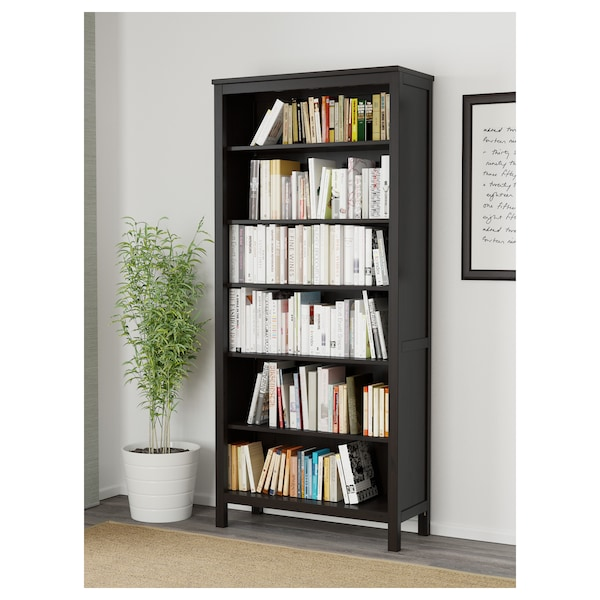 HEMNES Bookcase, black-brown, 35 3/8x77 1/2 ""