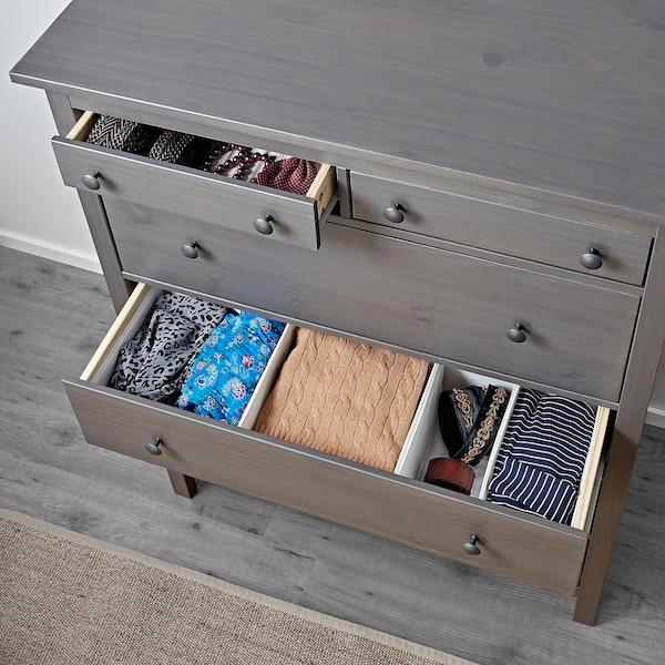 "HEMNES 6-drawer chest dark gray stained 42 1/2 "" 19 5/8 "" 51 5/8 """