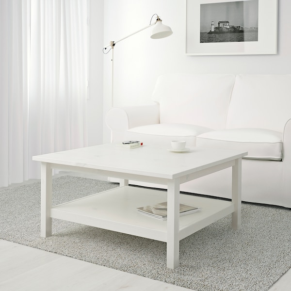 HEMNES Coffee table, white stain, 35 3/8x35 3/8 ""