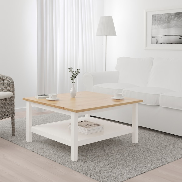 """HEMNES coffee table white stain/light brown 35 3/8 """" 35 3/8 """" 18 1/8 """""""