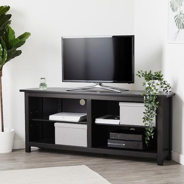 "HEMNES Corner TV-bench, black-brown, 57 7/8x24 """