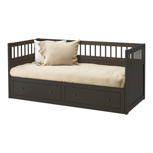 Black white ikea hemnes daybed with storage drawer for Hemnes daybed ikea
