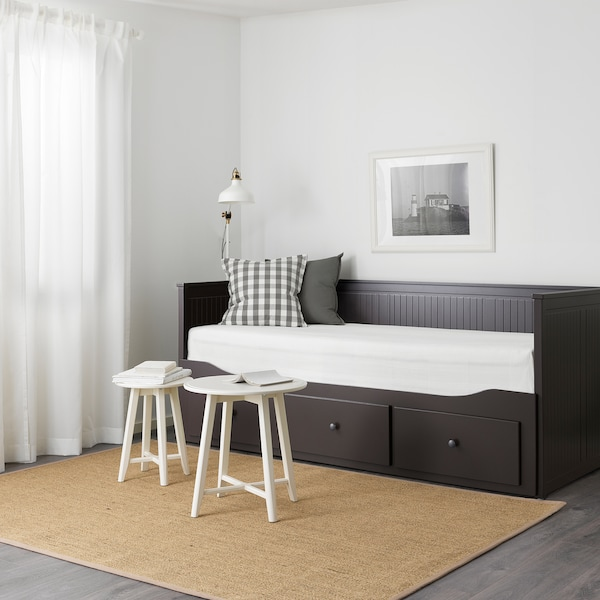HEMNES Daybed frame with 3 drawers, black-brown, Twin