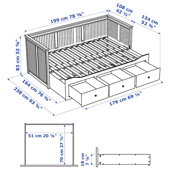 HEMNES Daybed frame with 3 drawers, white, Twin