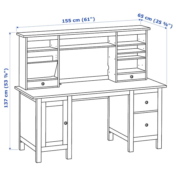 HEMNES Desk with add-on unit, gray, 61x53 7/8 ""