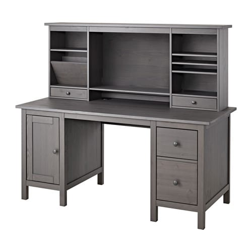 Hemnes Desk With Add On Unit Gray Ikea