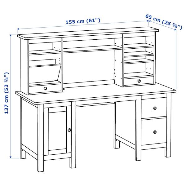 "HEMNES Desk with add-on unit, white stain, 61x53 7/8 """