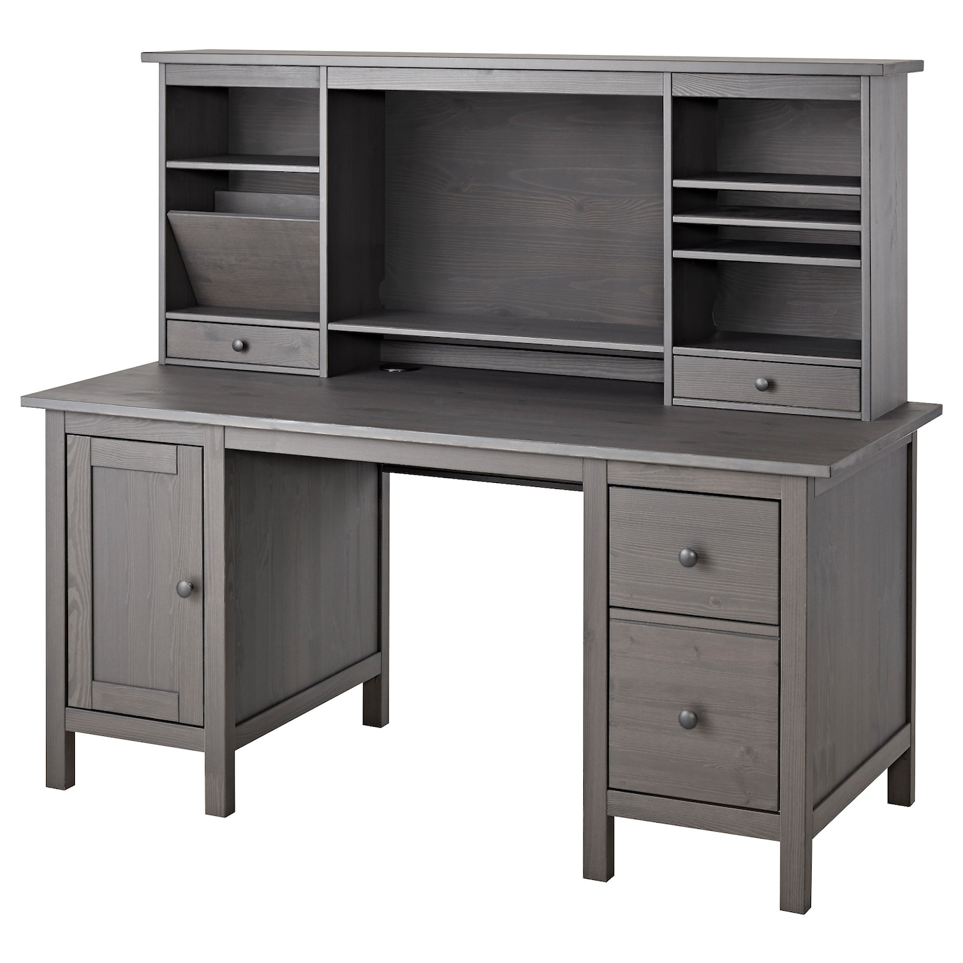 Hemnes Desk With Add On Unit Gray