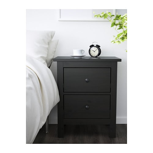 Hemnes 2 drawer chest black brown ikea for Ikea solid wood nightstand