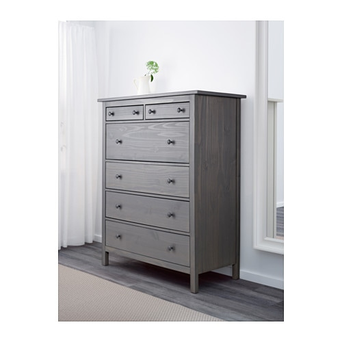 . HEMNES 6 drawer chest   black brown   IKEA