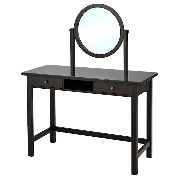 """HEMNES Dressing table with mirror, black-brown, 43 1/4x17 3/4 """""""