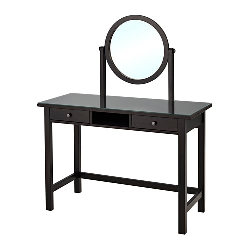 HEMNES Dressing table with mirror, black-brown black-brown 43 1/4x17 3/4