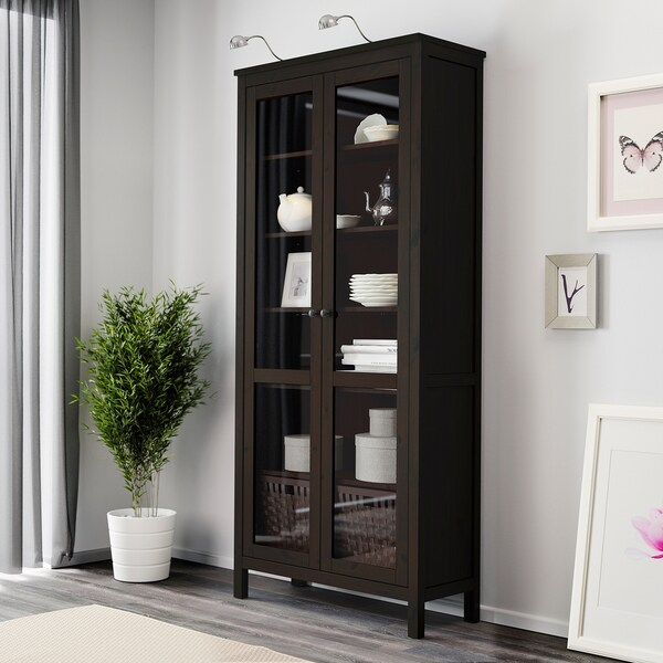 HEMNES Glass-door cabinet, black-brown, 35 3/8x77 1/2 ""