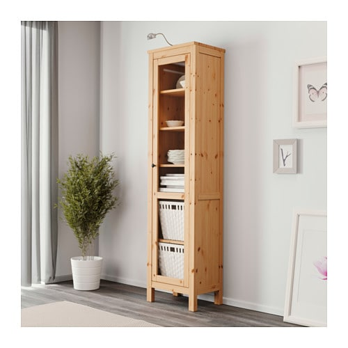 HEMNES Glass-door cabinet IKEA Solid wood has a natural feel.