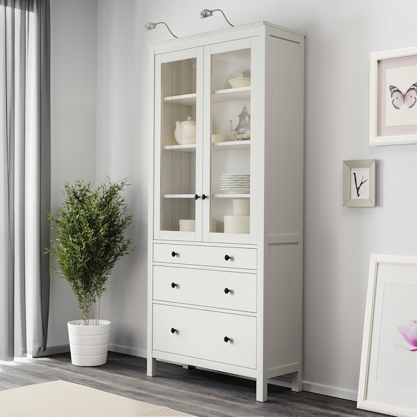 """HEMNES glass-door cabinet with 3 drawers white stain 35 3/8 """" 14 5/8 """" 77 1/2 """" 66 lb"""