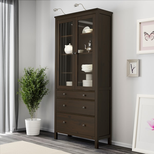 "HEMNES glass-door cabinet with 3 drawers black-brown 35 3/8 "" 14 5/8 "" 77 1/2 "" 66 lb"