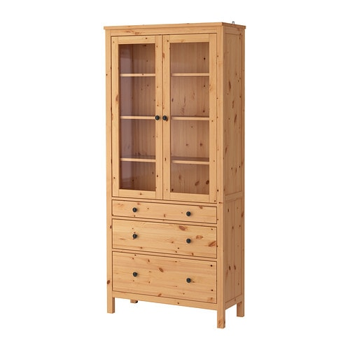 HEMNES Glass door cabinet with 3 drawers IKEA Solid wood has a natural