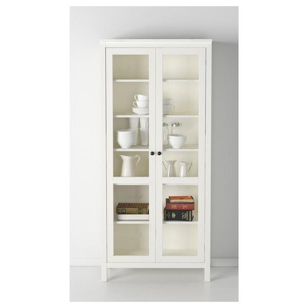 "HEMNES glass-door cabinet white stain 35 3/8 "" 14 5/8 "" 77 1/2 "" 66 lb"