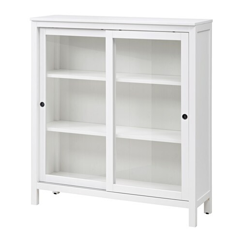 Hemnes glass door cabinet white stain ikea - Meuble buffet ikea ...