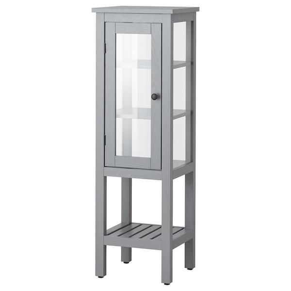 """HEMNES High cabinet with glass door, gray, 16 1/2x15x51 5/8 """""""