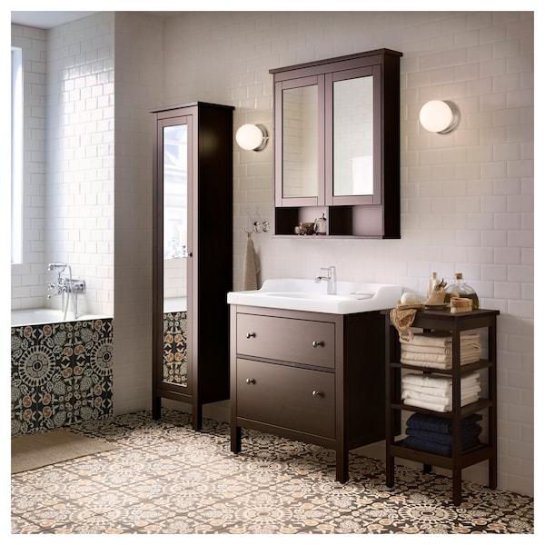 Hemnes High Cabinet With Mirror Door Black Brown Stain 19 1 4x12 4x78 3 4 Ikea