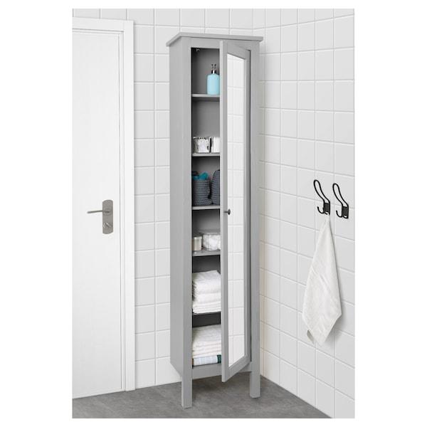 """HEMNES High cabinet with mirror door, gray, 19 1/4x12 1/4x78 3/4 """""""
