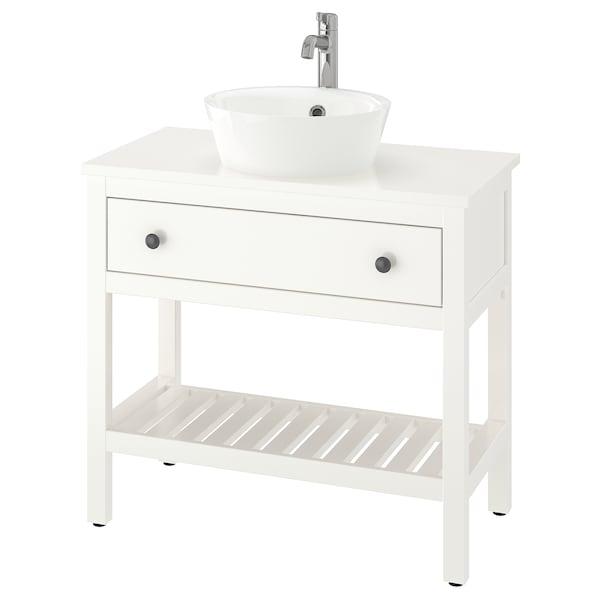 "HEMNES / KATTEVIK Open sink cabinet with 16"" sink, white/Voxnan faucet, 32 1/4x18 7/8x35 7/8 """