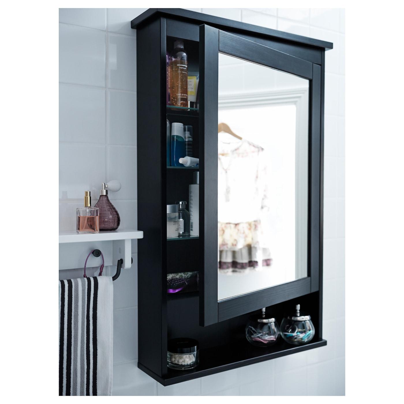 Hemnes Mirror Cabinet With 1 Door Black Brown Stain 24 3 4x6 1 4x38 5 8 Ikea