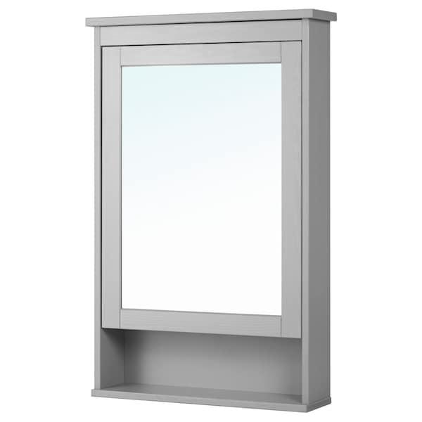 """HEMNES Mirror cabinet with 1 door, gray, 24 3/4x6 1/4x38 5/8 """""""