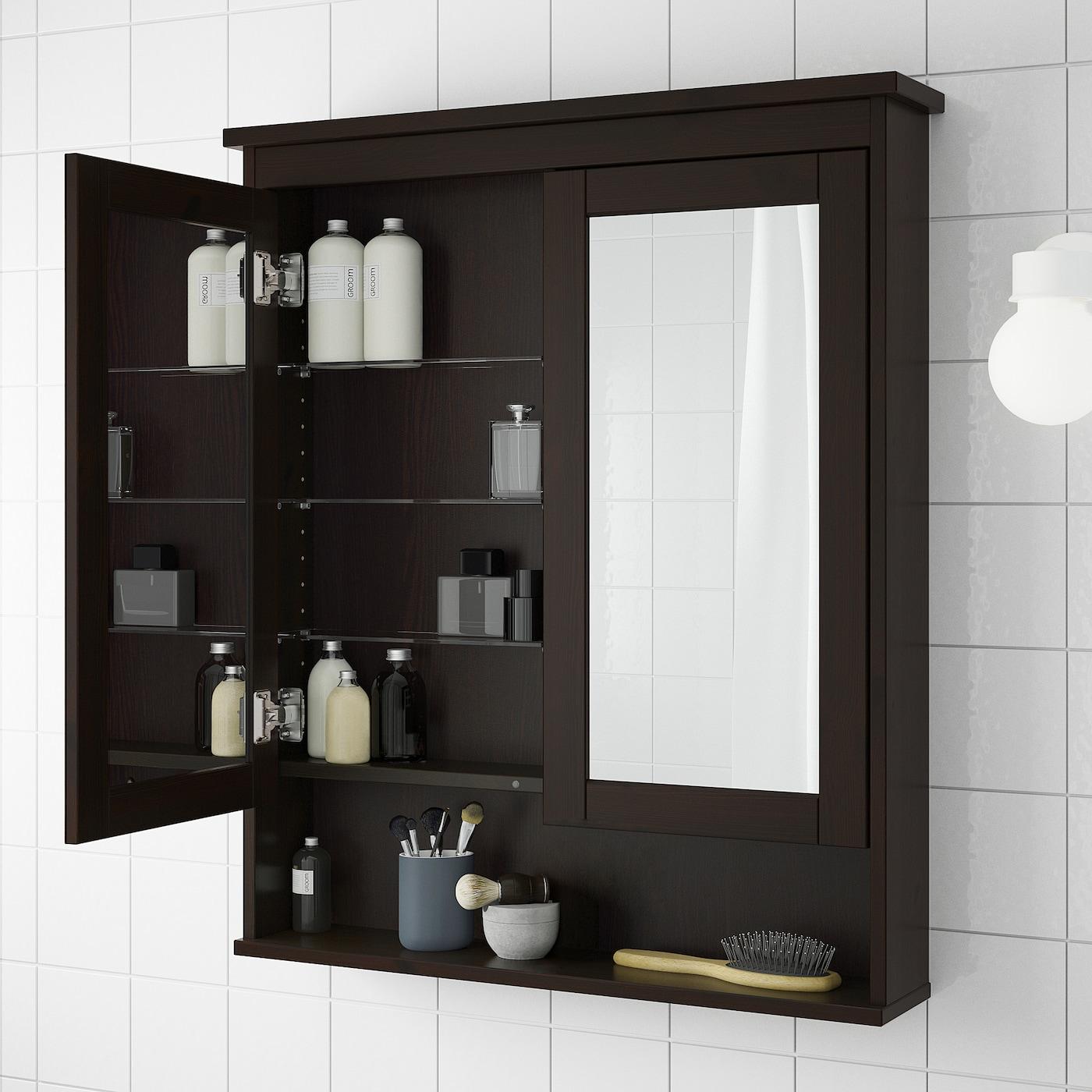 "HEMNES Mirror cabinet with 100 doors - black-brown stain 3100 100/100x100 10/10x3100 100/100 """