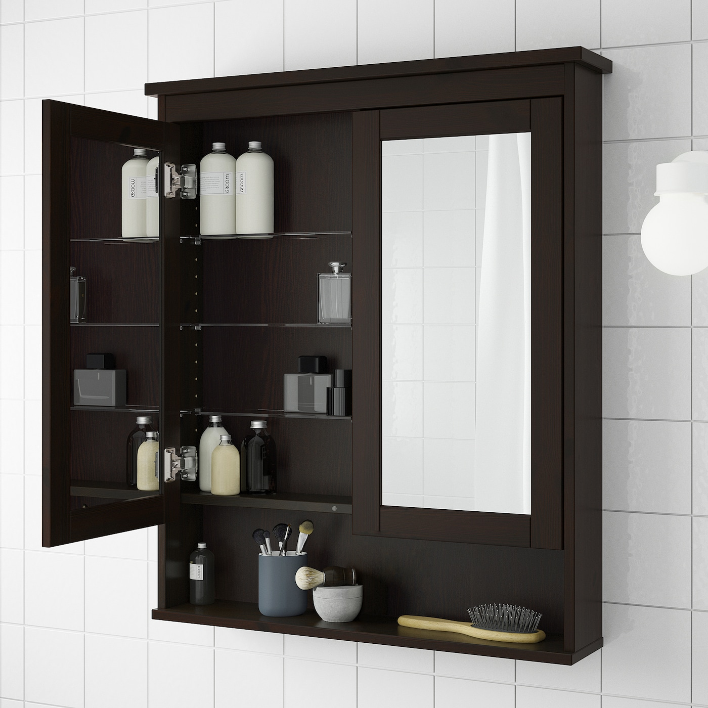 Hemnes Mirror Cabinet With 2 Doors Black Brown Stain 32 5 8x6 1 4x38 8 Ikea