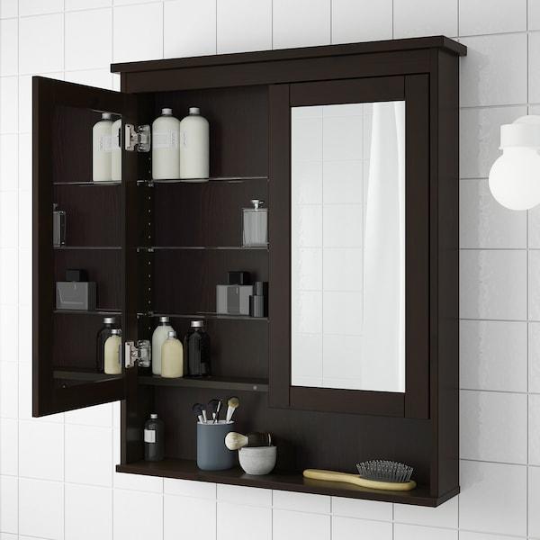 "HEMNES Mirror cabinet with 2 doors, black-brown stain, 32 5/8x6 1/4x38 5/8 """