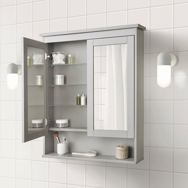 """HEMNES Mirror cabinet with 2 doors, gray, 32 5/8x6 1/4x38 5/8 """""""