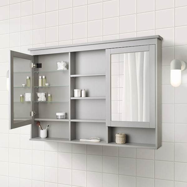 Hemnes Mirror Cabinet With 2 Doors Gray 55 1 8x38 5 8 Ikea
