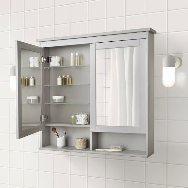 Hemnes Mirror Cabinet With 2 Doors Gray 40 1 2x6 4x38 5 8 Ikea
