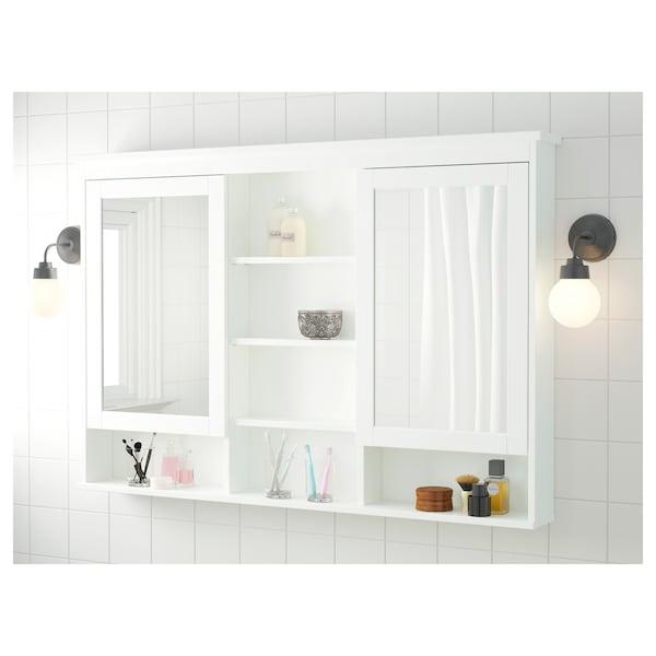"""HEMNES Mirror cabinet with 2 doors, white, 55 1/8x38 5/8 """""""
