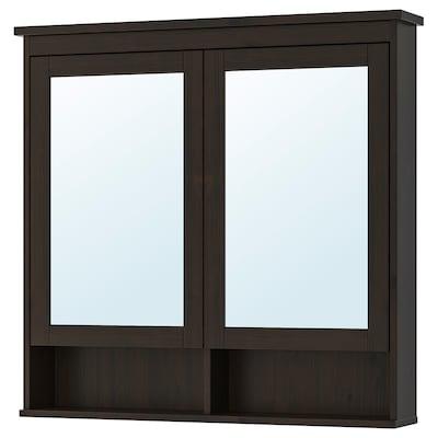 "HEMNES mirror cabinet with 2 doors black-brown stain 40 1/2 "" 6 1/4 "" 38 5/8 """