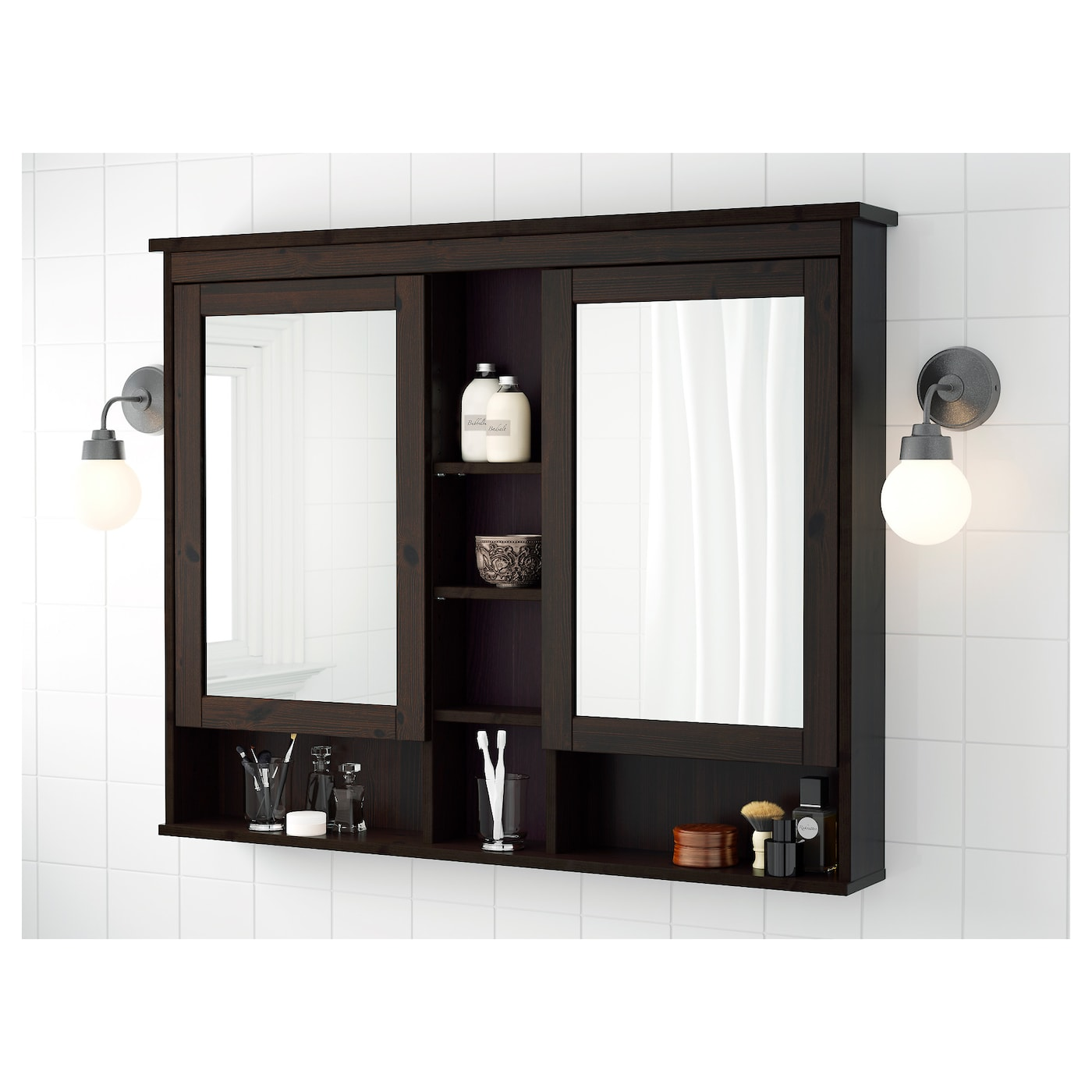 Awesome Hemnes Mirror Cabinet With 2 Doors Black Brown Stain Interior Design Ideas Pimpapslepicentreinfo