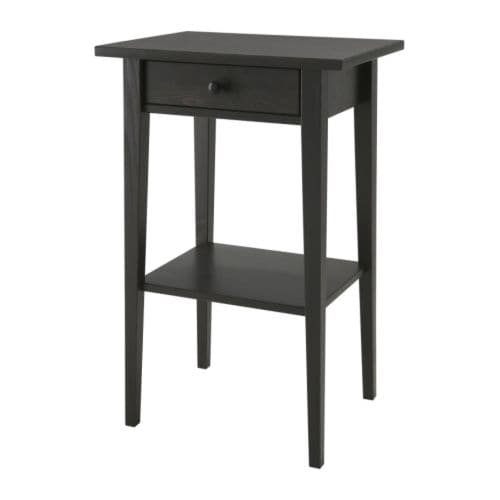 Hemnes nightstand black brown ikea for Mini table de chevet