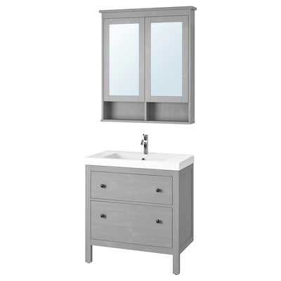 HEMNES / ODENSVIK Bathroom furniture, set of 4, gray/Voxnan faucet, 32 5/8 ""