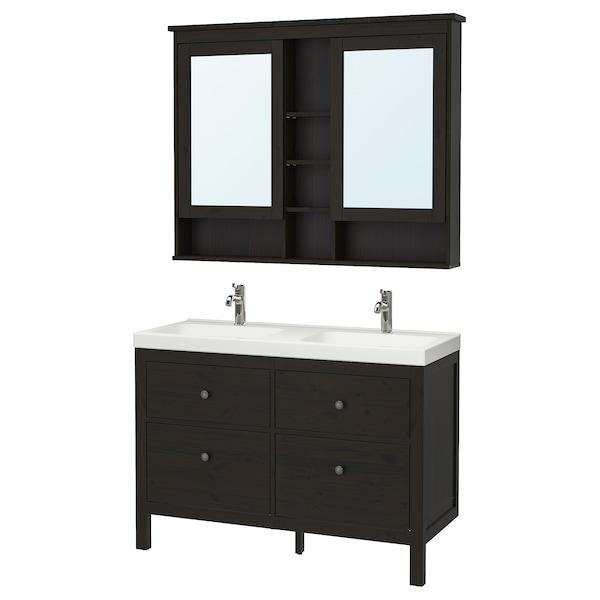 """HEMNES / ODENSVIK Bathroom furniture, set of 5, black-brown/Voxnan faucet, 48 3/8 """""""