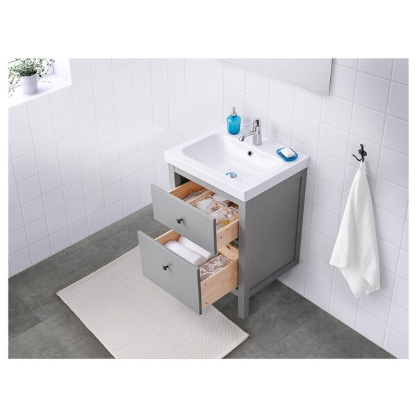 """HEMNES / ODENSVIK Sink cabinet with 2 drawers, gray, 24 3/4x19 1/4x35 """""""