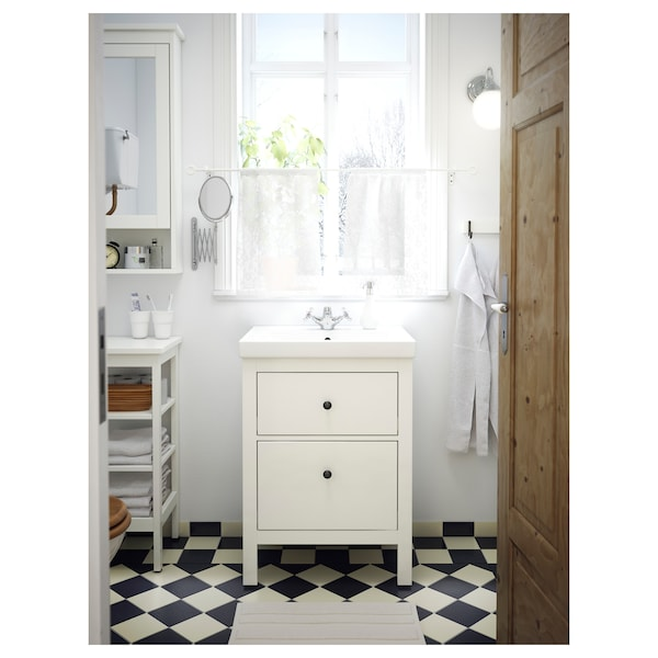 Hemnes Odensvik Sink Cabinet With 2 Drawers White Runskär Faucet 24 3 4x19 1 4x35 Ikea