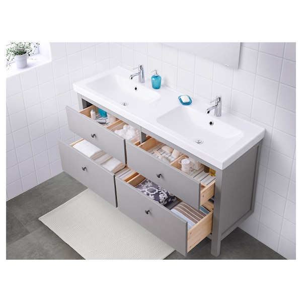 """HEMNES / ODENSVIK Sink cabinet with 4 drawers, gray, 56 1/4x19 1/4x35 """""""